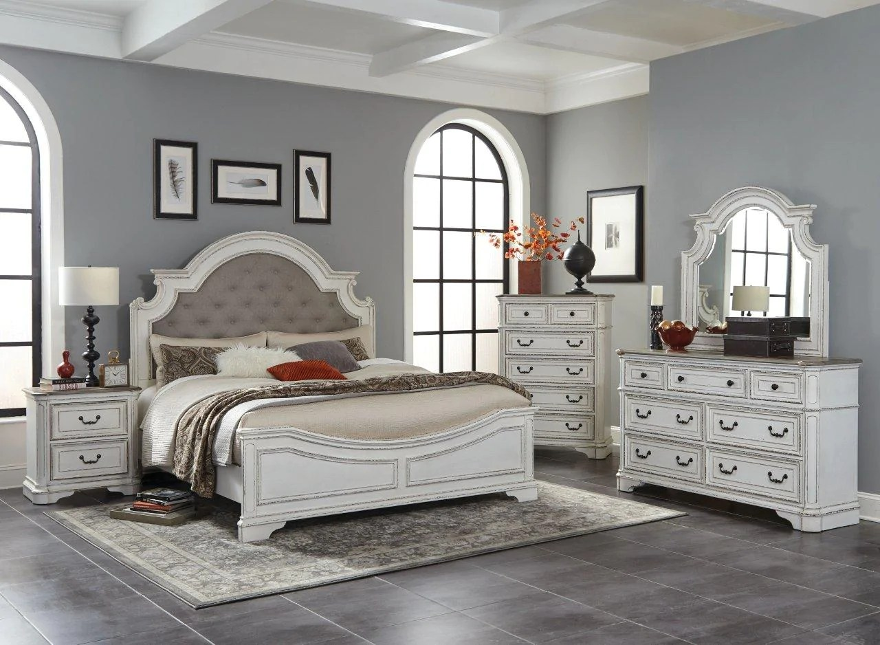 Antique White Oak Queen Bedroom Set My Furniture Place